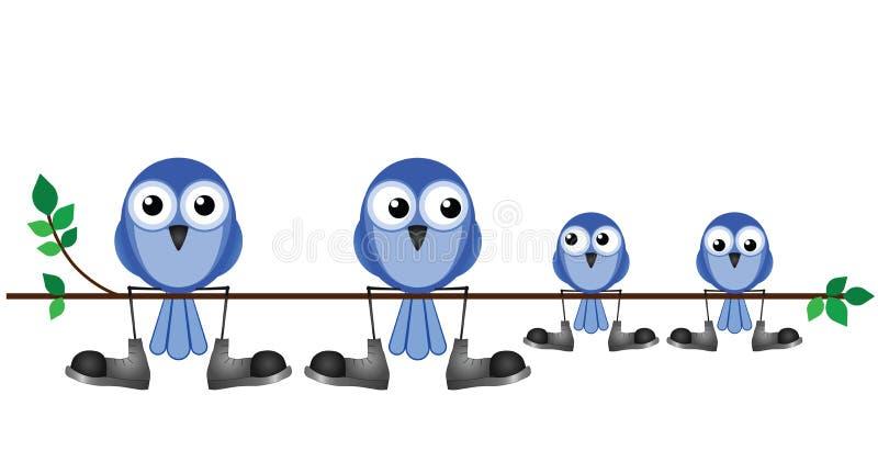 Семья птиц иллюстрация штока