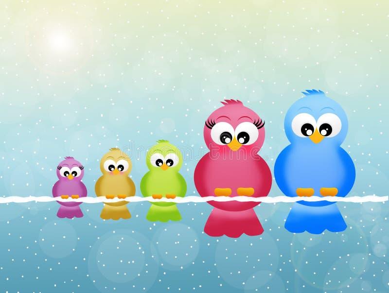 Семья птиц бесплатная иллюстрация