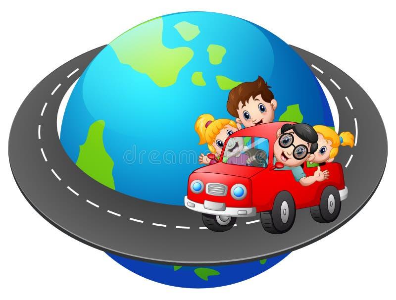 Семья путешествует с автомобилем по всему миру бесплатная иллюстрация
