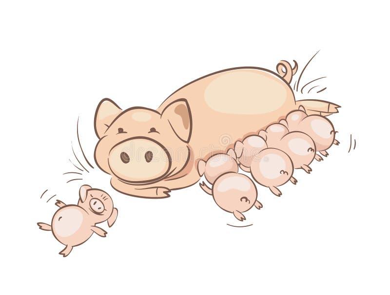 Семья свиньи бесплатная иллюстрация