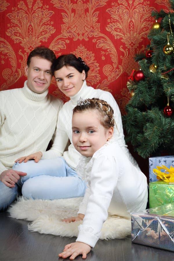 Семья сидит на поле с подарками около рождественской елки дома стоковые фотографии rf