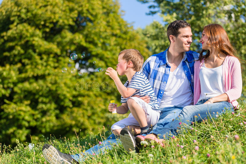 Семья сидя на луге играя с пузырями мыла стоковые изображения rf