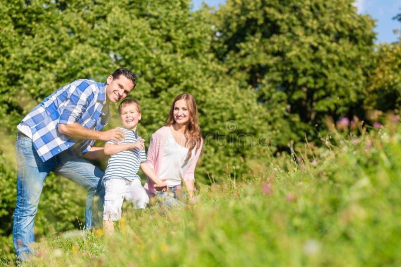 Семья сидя на луге с руками ребенка развевая стоковое фото rf