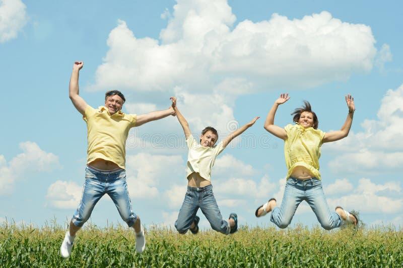 Семья скача outdoors стоковое изображение rf