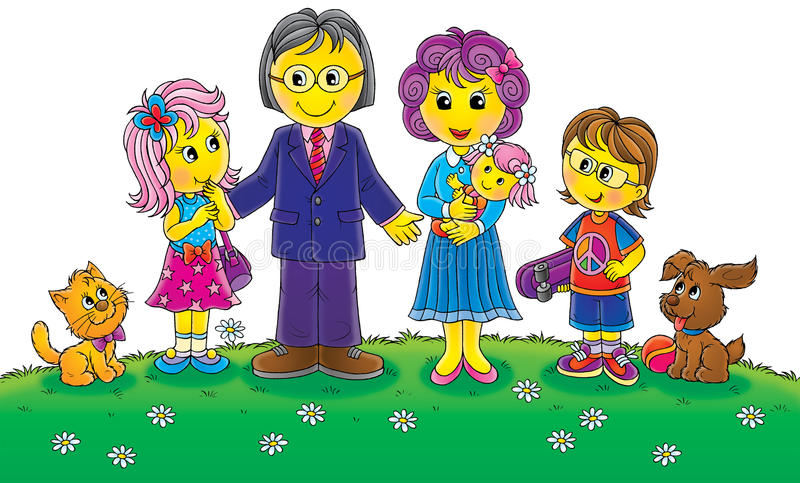 семья смешная иллюстрация вектора