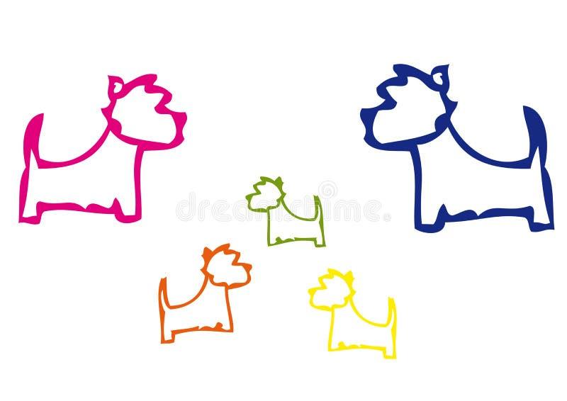Семья собак Westies в цвете бесплатная иллюстрация