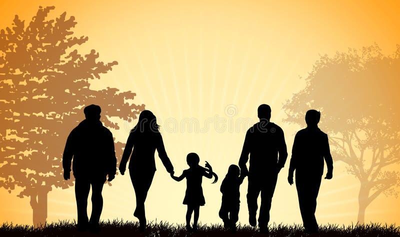 семья совместно гуляя иллюстрация вектора
