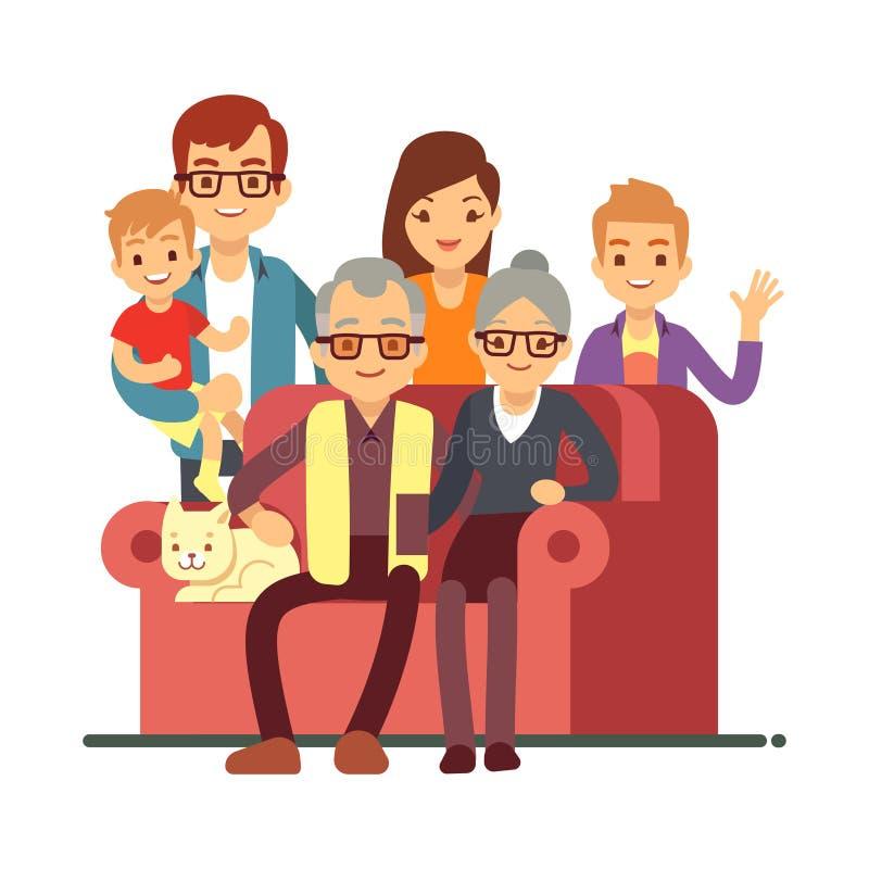 Семья стиля шаржа изолированная на белой предпосылке Пары дня дедов счастливые старые с внуками бесплатная иллюстрация