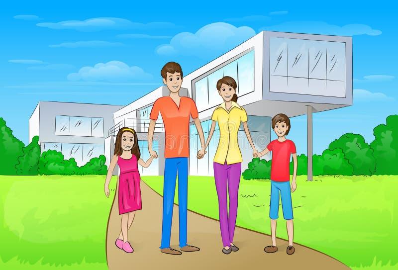 Семья стоя перед новым большим современным домом иллюстрация вектора