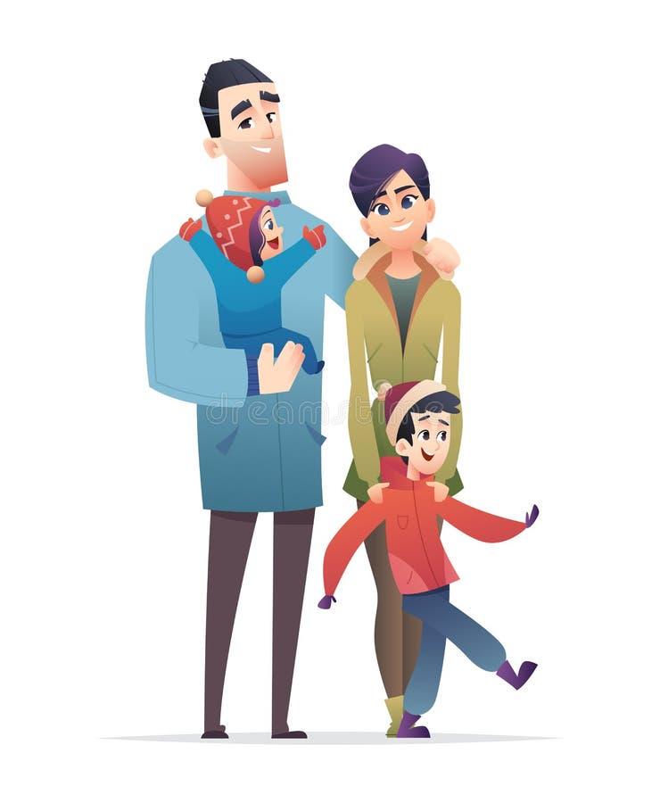 семья счастливая совместно Отец, мать, сын и дочь Дизайн мультфильма моды зимы плоский современный иллюстрация вектора