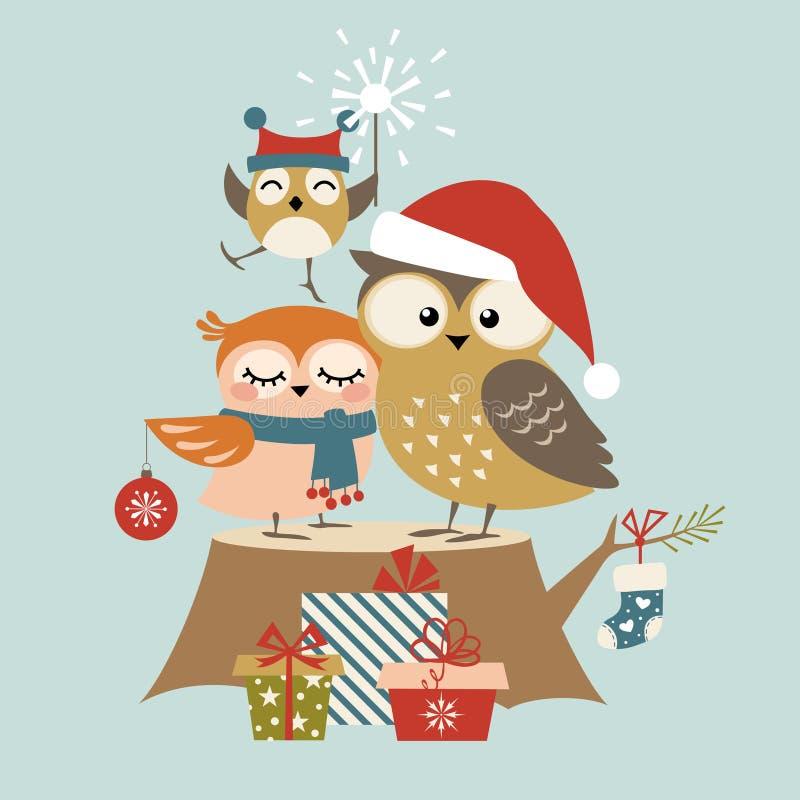 Семья сыча рождества иллюстрация вектора
