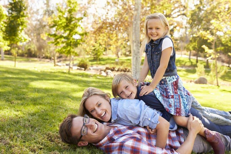Семья сложенная na górze одина другого в взгляде парка к камере стоковое фото rf