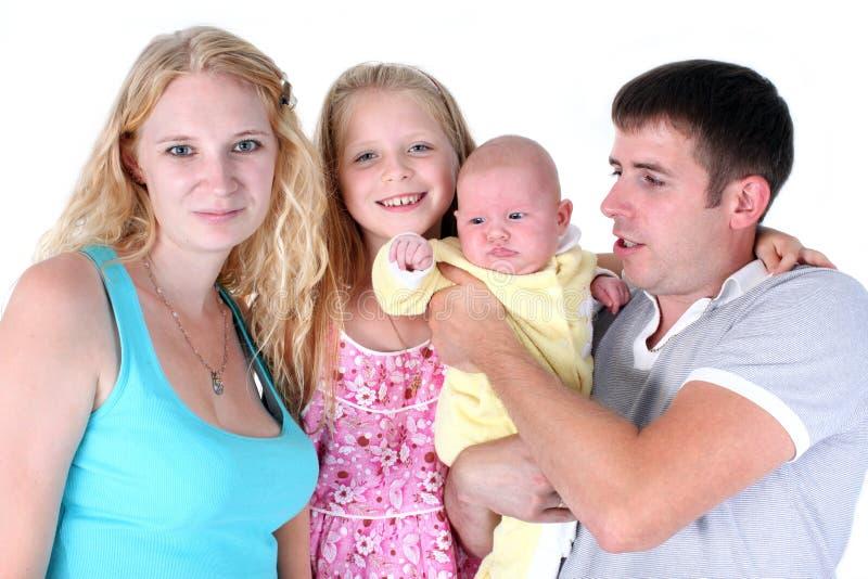 Семья с сестрами 8 год и 3 месяца стоковое фото rf