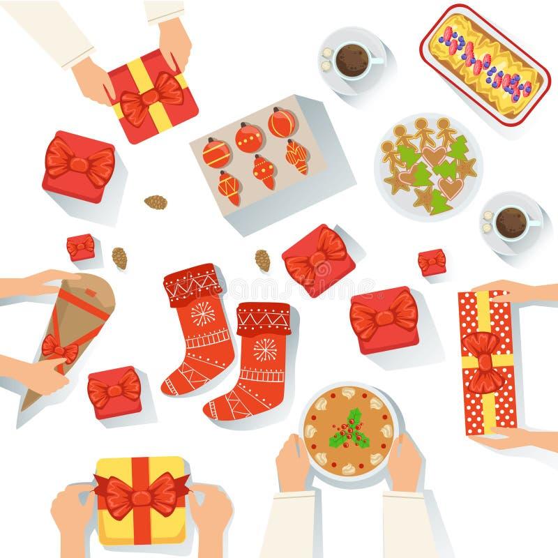 Семья с традиционно, который служат иллюстрацией шаржа взгляда еды торжества рождества сверху иллюстрация вектора