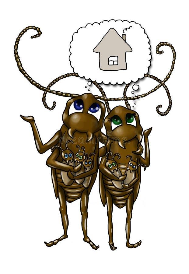 семья таракана шаржа иллюстрация вектора