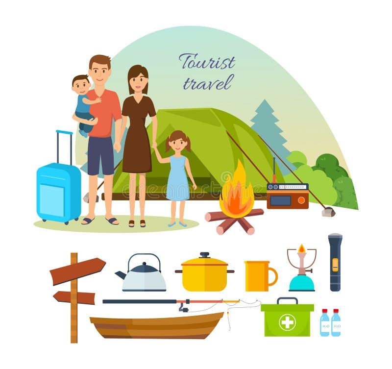 Семья туристов с багажом, приниманнсяым за пешим туризмом, располагаясь лагерем иллюстрация штока