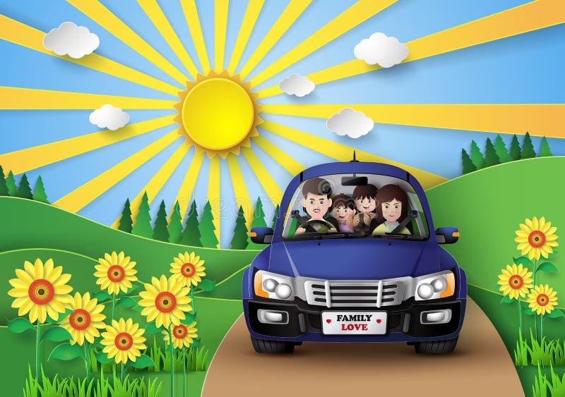 Семья управляя в автомобиле иллюстрация вектора
