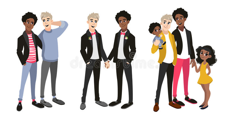 Семья установила с парами гомосексуалиста, 2 папами и детьми иллюстрация вектора