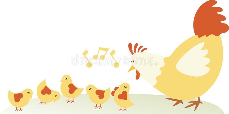 семья цыпленка иллюстрация штока