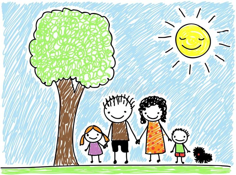 Семья чертежа ребенка иллюстрация штока