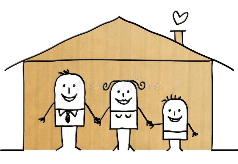 Семья шаржа в доме иллюстрация вектора