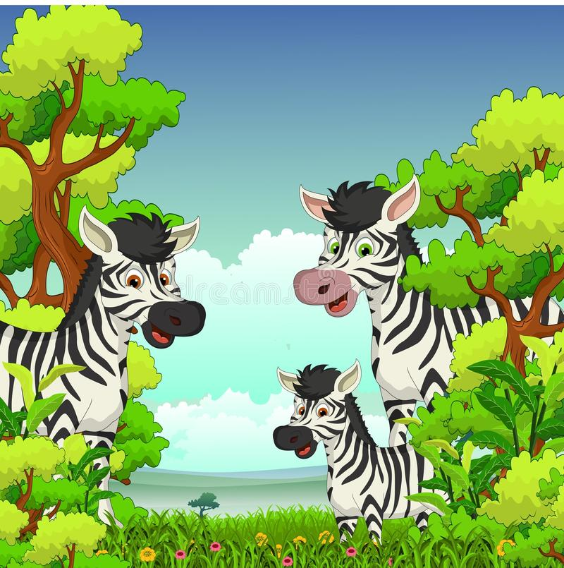 Семья шаржа зебры с предпосылкой леса бесплатная иллюстрация