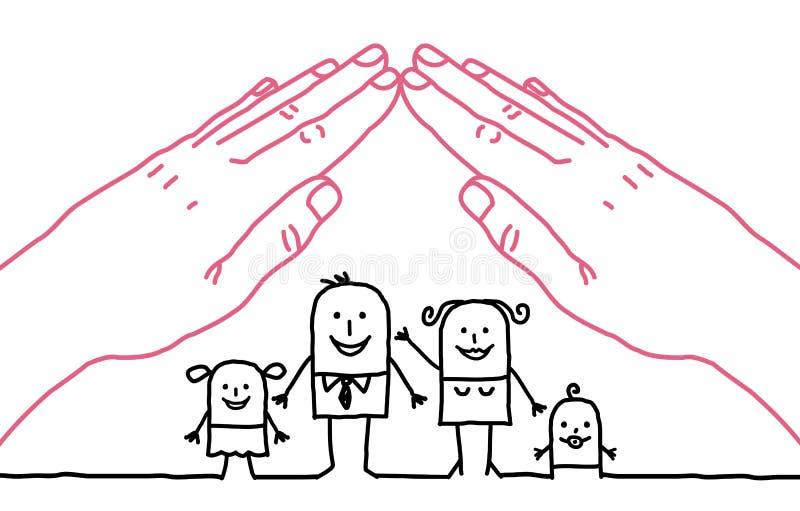 Семья шаржа - крыша иллюстрация штока
