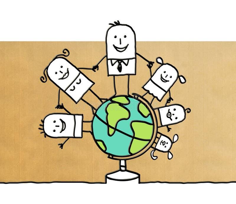 Семья шаржа по всему миру иллюстрация вектора
