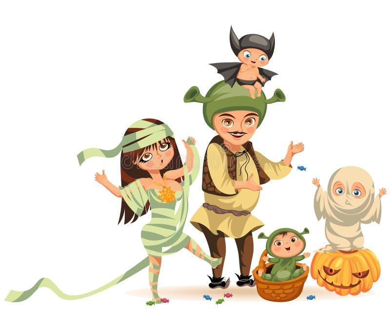 Семья шаржа празднуя иллюстрацию вектора плаката хеллоуина плоскую Счастливые родители и дети одели в различном все иллюстрация вектора