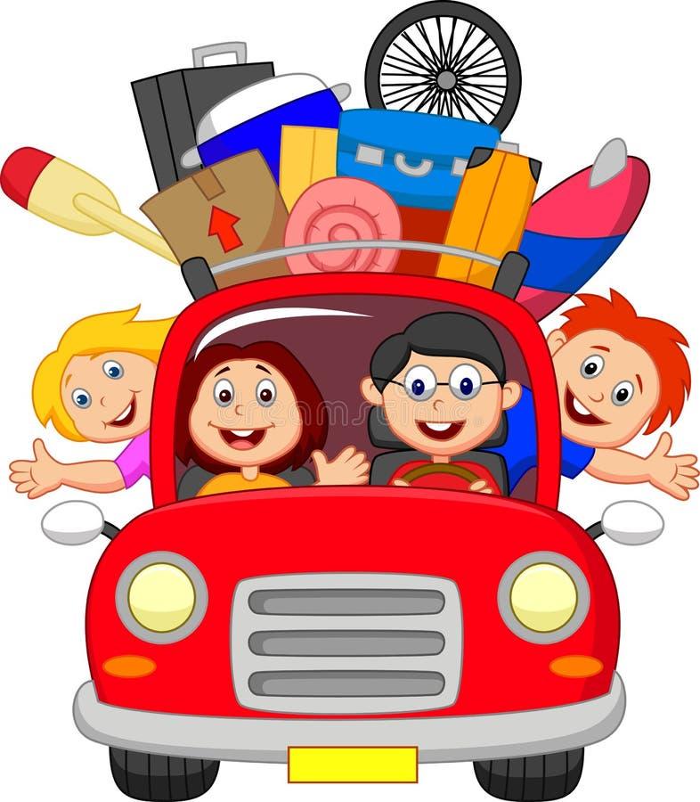 Семья шаржа путешествуя с автомобилем иллюстрация вектора