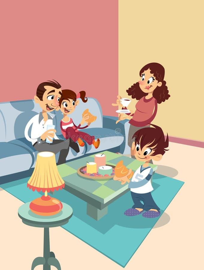 Семья шаржа на жить-room бесплатная иллюстрация