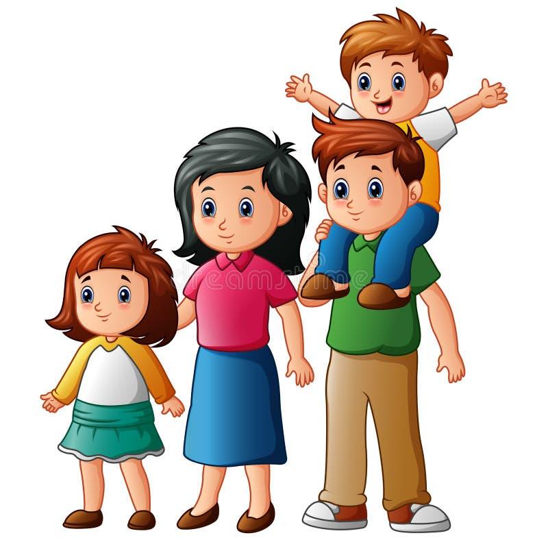 семья шаржа счастливая иллюстрация штока