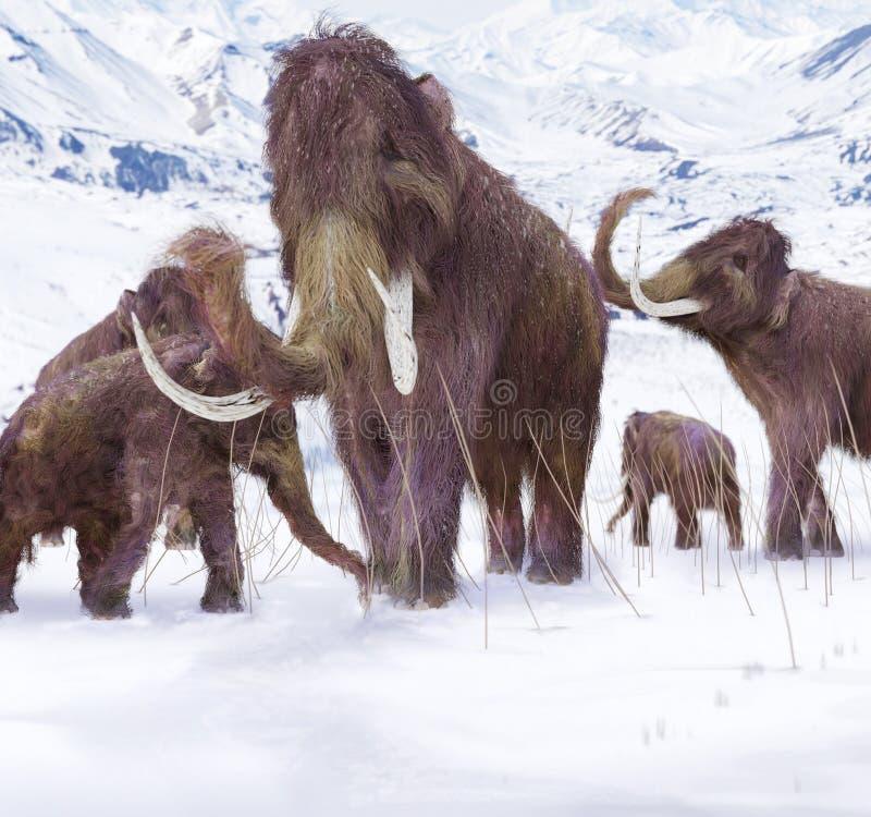 Семья шерстистого мамонта иллюстрация вектора