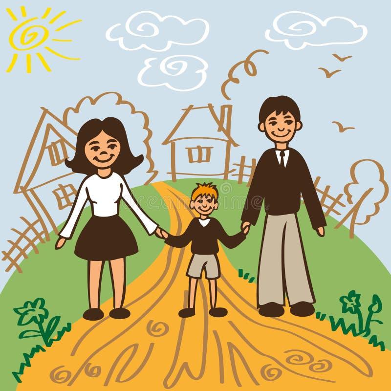 Семья для прогулки в лете иллюстрация вектора