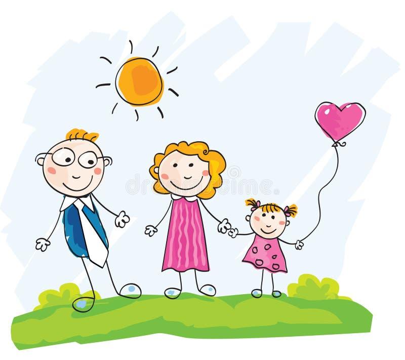 семья doodle счастливая иллюстрация штока