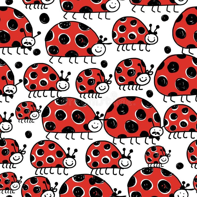 Семья Ladybird, безшовная картина для вашего дизайна иллюстрация вектора