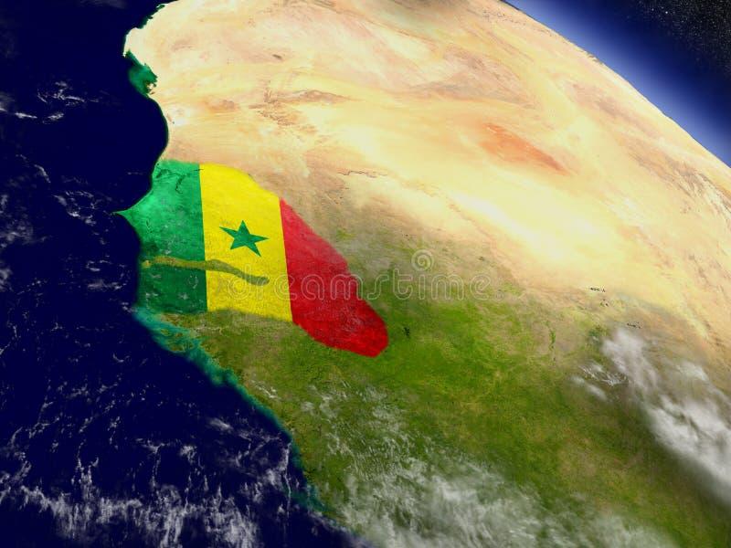 Download Сенегал с врезанным флагом на земле Иллюстрация штока - иллюстрации насчитывающей космос, физическо: 81805301