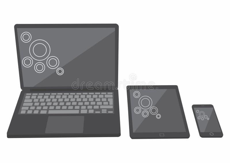 Сенсорная панель, тетрадь компьтер-книжки, вектор мобильного телефона иллюстрация вектора