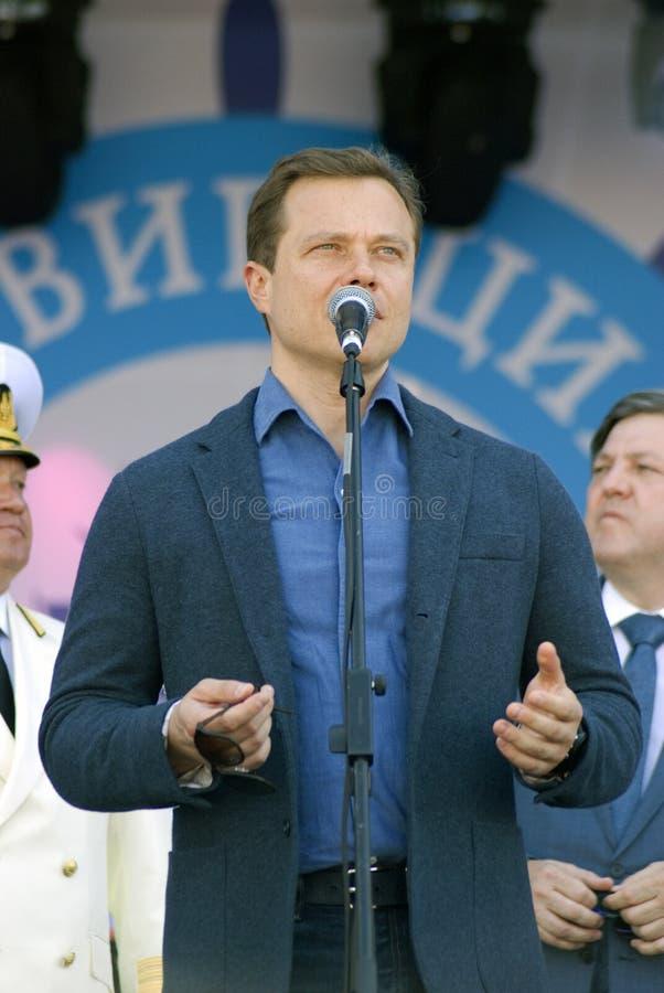 Сентенция Alexandrovich Liskutov, правительственный чиновник Москвы делает речь стоковые фото