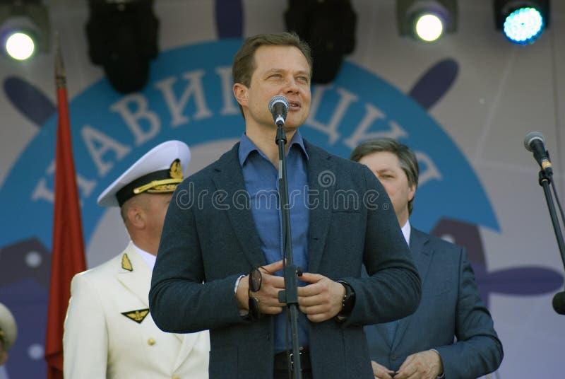 Сентенция Alexandrovich Liskutov, правительственный чиновник Москвы делает речь стоковое фото