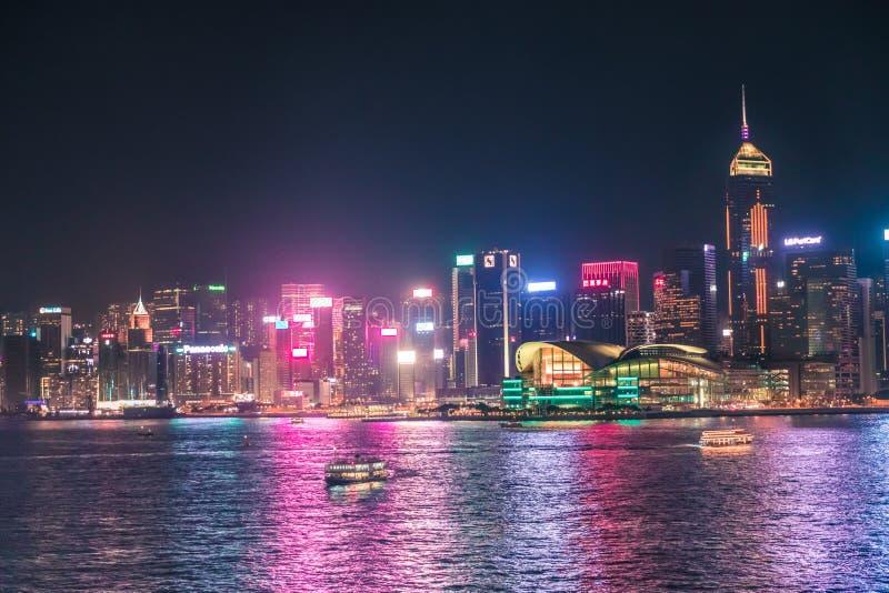28 сентября 2019 года - Гонконг: Гонконг: ночной пейзаж стоковое изображение
