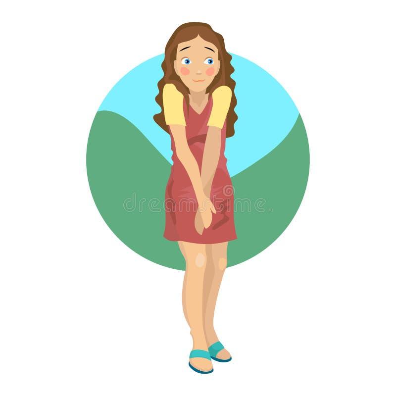 Сенькая девушка в платьице Иллюстрация векторного изолированного мультфильма стоковое изображение rf