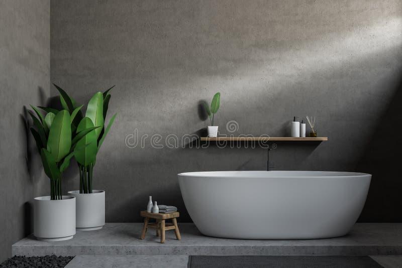 Серая ванная комната, белый ушат иллюстрация вектора