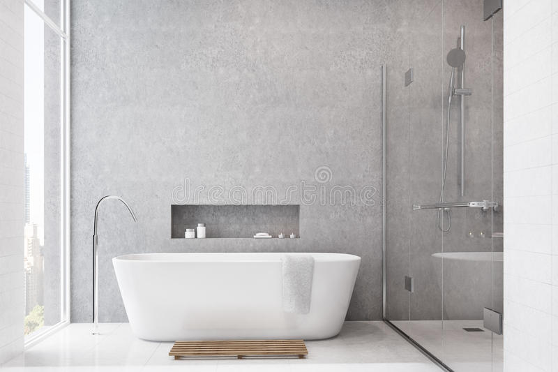 Серая ванная комната, белые плитки, ливень иллюстрация штока