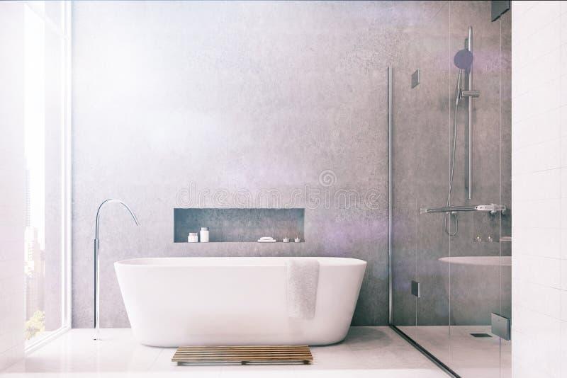Серая ванная комната, белые плитки, тонизированный ливень бесплатная иллюстрация
