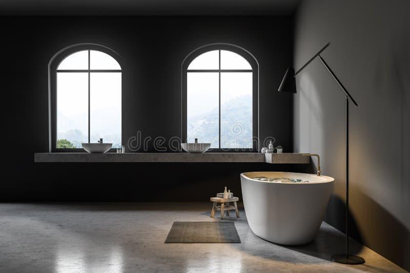 Серая ванная комната внутренняя, белый ушат, взгляд со стороны иллюстрация вектора