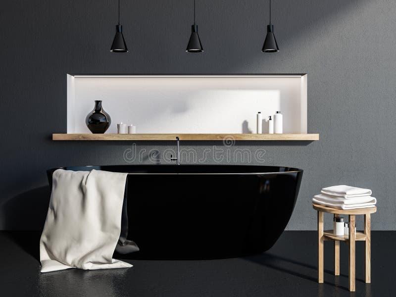 Серая ванная комната внутренняя, черный ушат иллюстрация штока