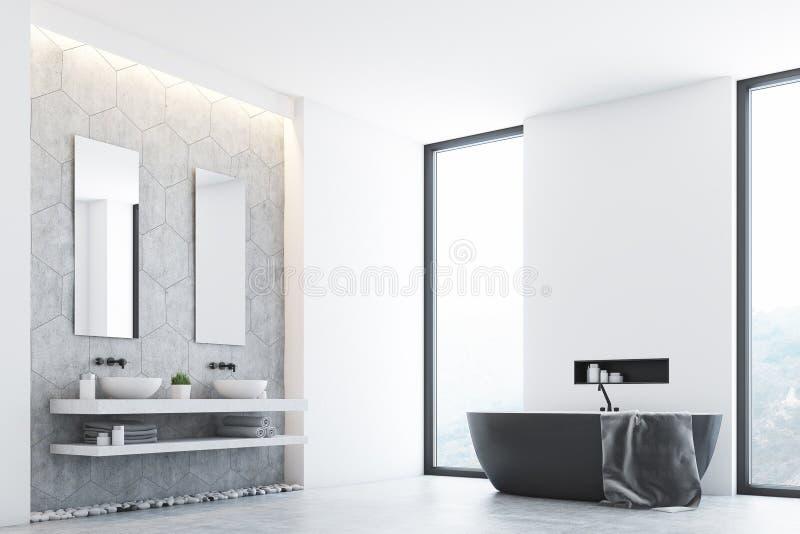 Серая ванная комната и окно, угол иллюстрация штока