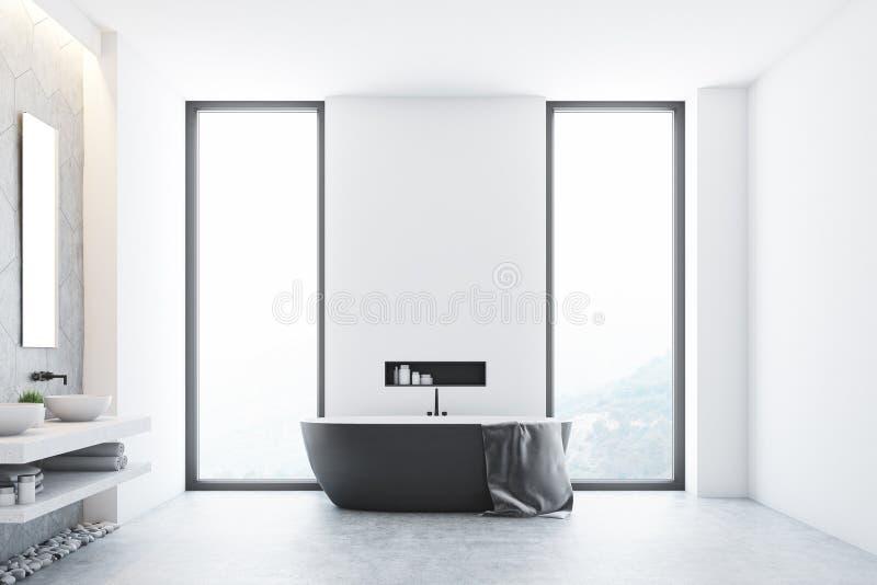 Серая ванная комната и окно иллюстрация вектора