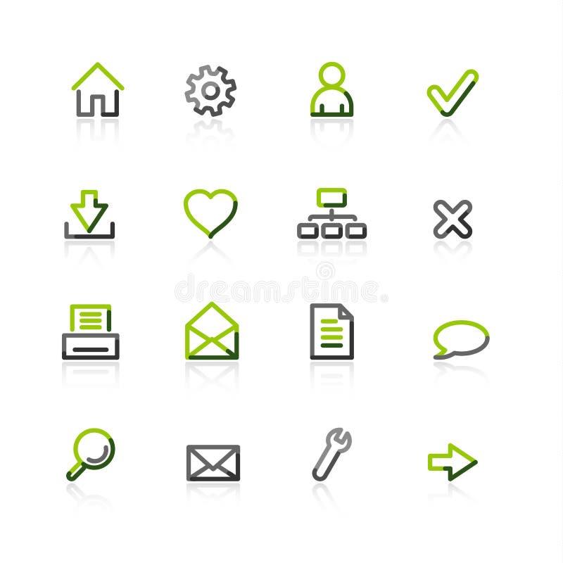 серая зеленая сеть икон иллюстрация вектора